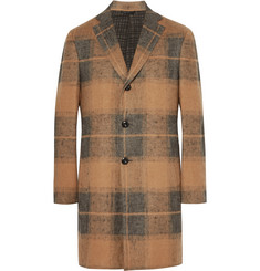 Eidos Slim-Fit Checked Linen and Camel Hair-Blend Coat