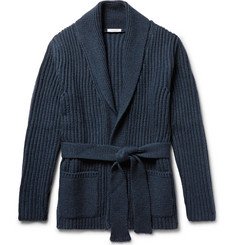 Eidos - Shawl-Collar Ribbed Merino Wool Cardigan