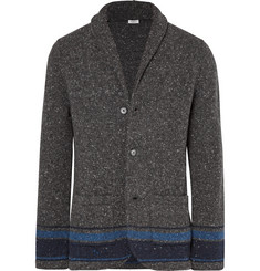 Eidos - Shawl-Collar Striped Slub Wool Cardigan