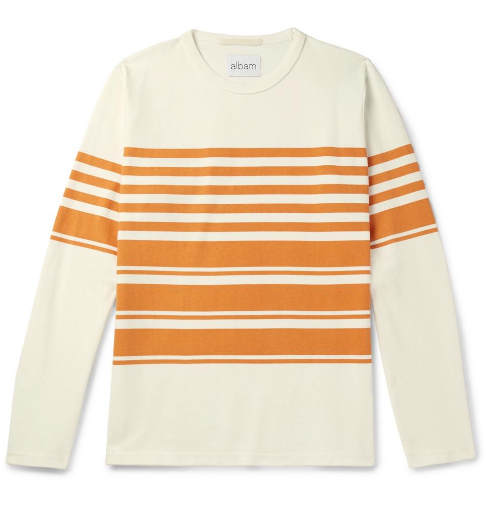 Striped Cotton-jersey T-shirt - Off-white