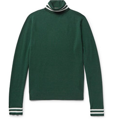 Todd Snyder Stripe-Trimmed Wool-Blend Rollneck Sweater