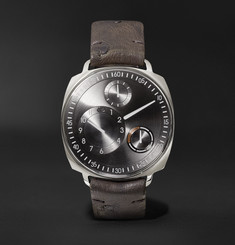 Ressence - Type 1 Squared Mechanical 40mm Stainless Steel and Ostrich Watch