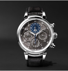 IWC SCHAFFHAUSEN - Da Vinci Perpetual Calendar Chronograph 43mm Stainless Steel and Alligator Watch