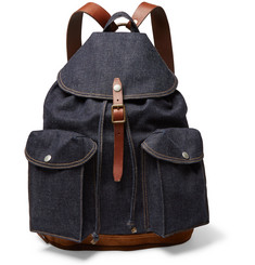 RRL - Riley Leather and Suede-Trimmed Denim Backpack