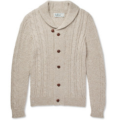 Mollusk Jeffrey Mélange Alpaca-Blend Cable-Knit Cardigan