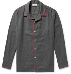 Sleepy Jones - Henry Piped Cotton-Flannel Pyjama Shirt