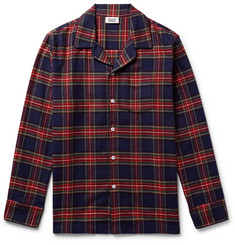 Sleepy Jones - Henry Piped Checked Cotton-Flannel Pyjama Shirt