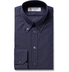 Turnbull & Asser - Midnight-Blue Slim-Fit Button-Down Collar Checked Cotton Shirt