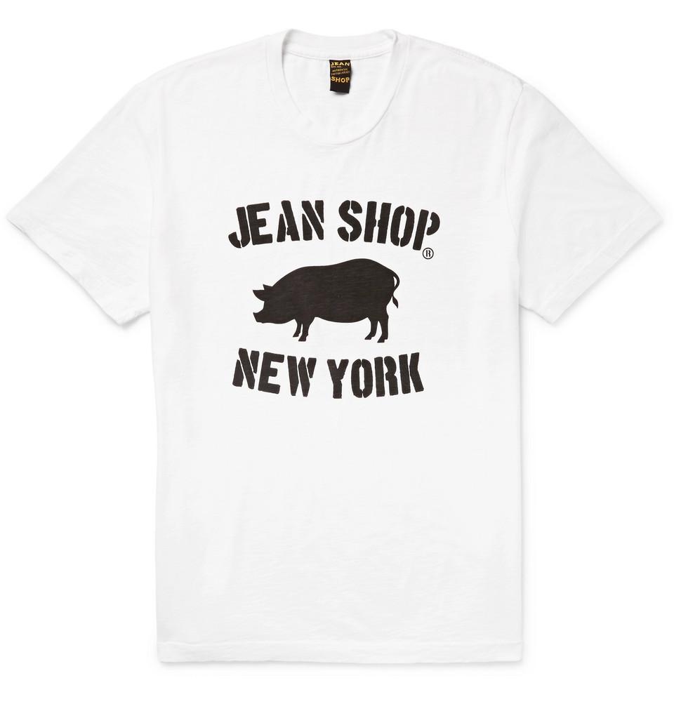Printed Slub Cotton-jersey T-shirt - White