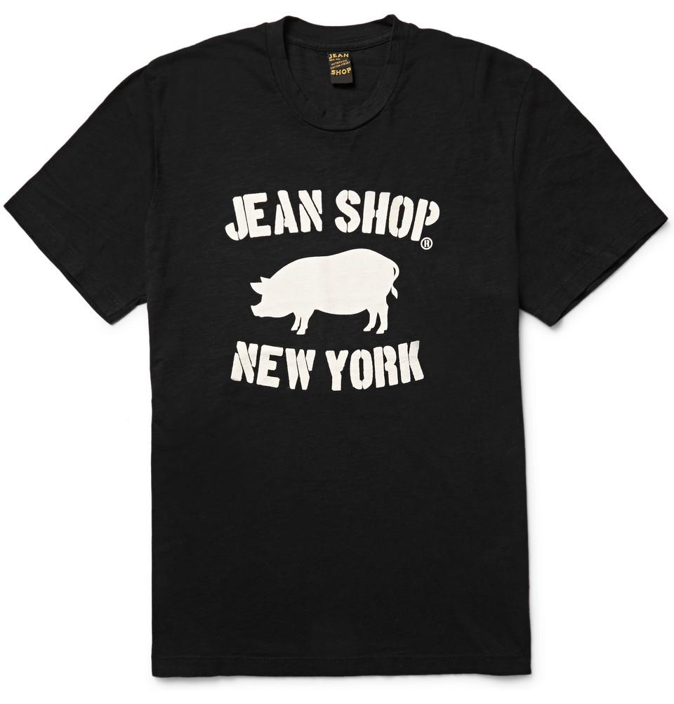 Printed Slub Cotton-jersey T-shirt - Black