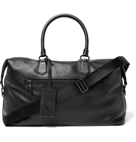 Polo Ralph Lauren Full-grain Leather Holdall In Black