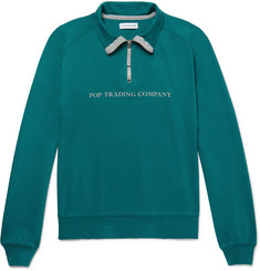 Pop Trading Company Printed Cotton-Jersey Half-Zip Sweatshirt