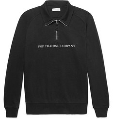 Pop Trading Company Cotton-Jersey Half-Zip Sweatshirt