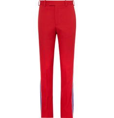 CALVIN KLEIN 205W39NYC Grosgrain-Trimmed Wool-Twill Trousers