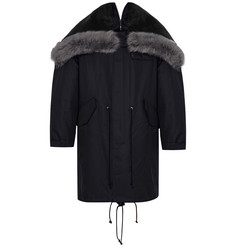 CALVIN KLEIN 205W39NYC - Shearling-Trimmed Cotton and Silk-Blend Parka