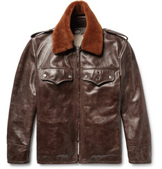 CALVIN KLEIN 205W39NYC - Shearling-Trimmed Distressed Leather Jacket