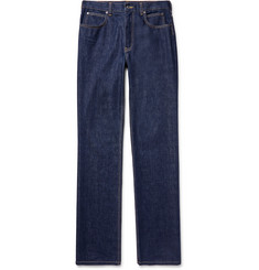 CALVIN KLEIN 205W39NYC - Leather-Trimmed Denim Jeans