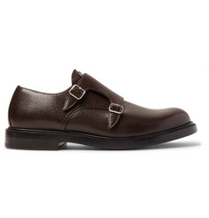 CALVIN KLEIN 205W39NYC Pebble-Grain Leather Monk-Strap Shoes