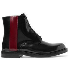 CALVIN KLEIN 205W39NYC Striped Glossed-Leather Boots