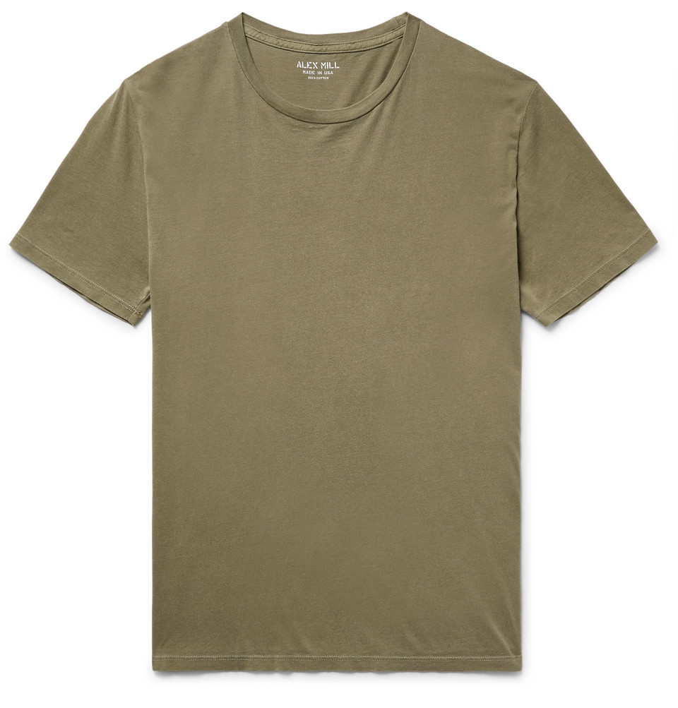 Slim-fit Cotton-jersey T-shirt - Army green