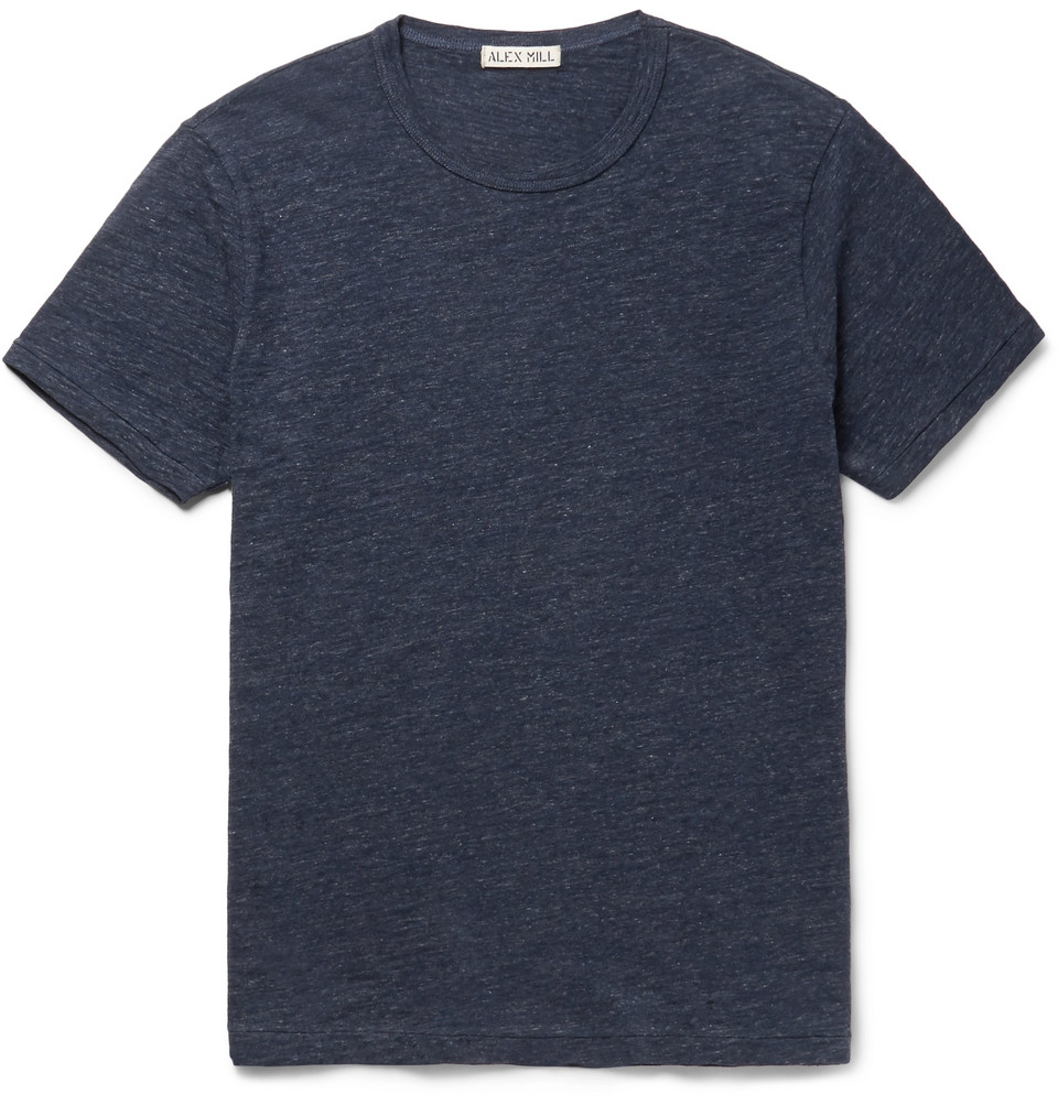 Slim-fit Mélange Slub Cotton-jersey T-shirt - Navy