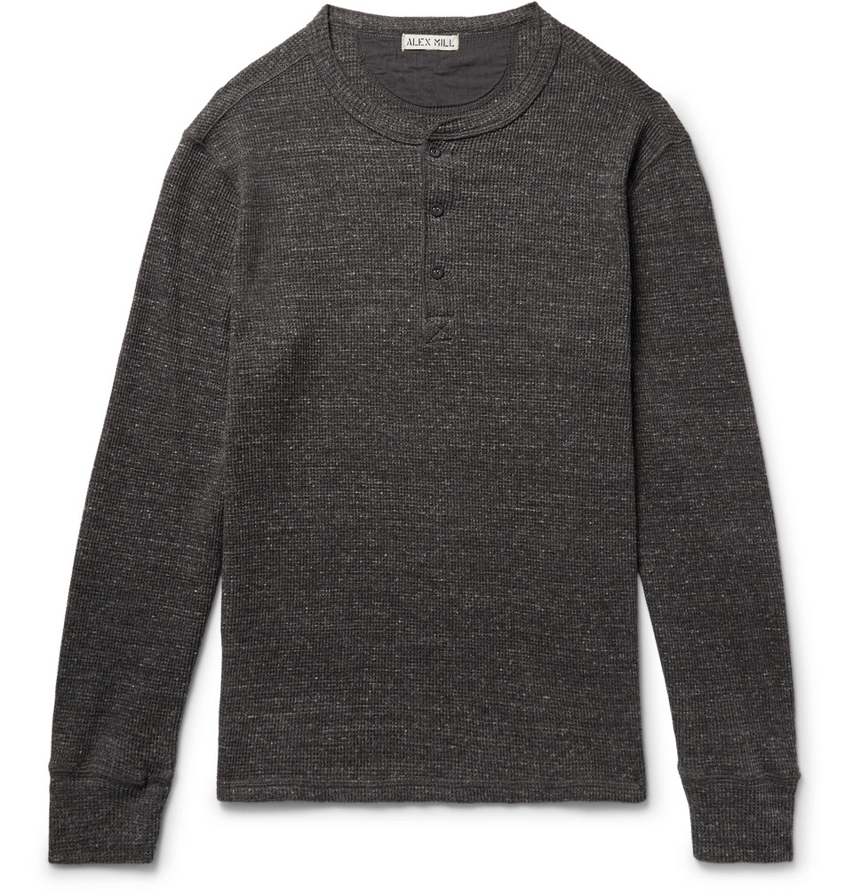 Waffle-knit Mélange Cotton Henley T-shirt - Anthracite