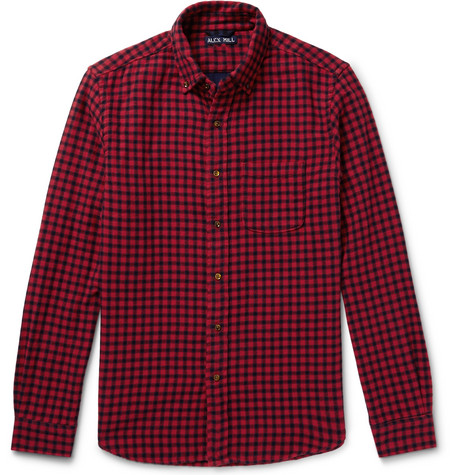 ALEX MILL Button-down Collar Gingham Double-faced Cotton-flannel Shirt - Red 72R7NXuBdN