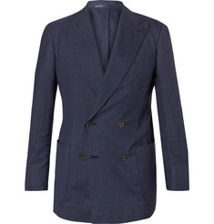 P. Johnson Blue Double-Breasted Tropical Wool Suit Jacket