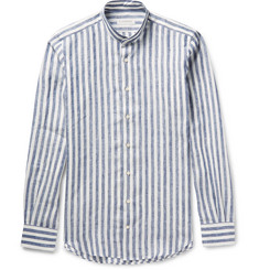 P. Johnson Mandarin-Collar Striped Linen Shirt