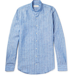 P. Johnson Grandad-Collar Striped Linen Shirt
