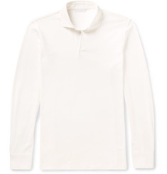 P. Johnson Open-Collar Cotton-Piqué Polo Shirt