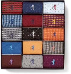 London Sock Co. - The Designer 15-Pack Patterned Stretch Cotton-Blend Socks