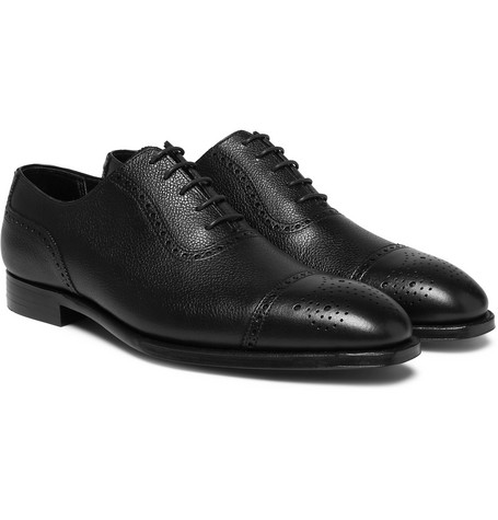 Adam Pebble-grain Leather Oxford Brogues - Black