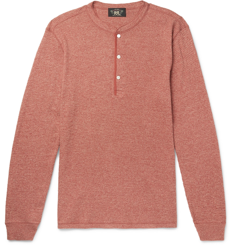 Waffle-knit Cotton Henley T-shirt - Red