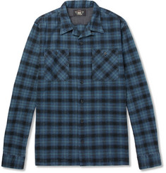 RRL Monerey Checked Camp-Collar Cotton-Flannel Shirt
