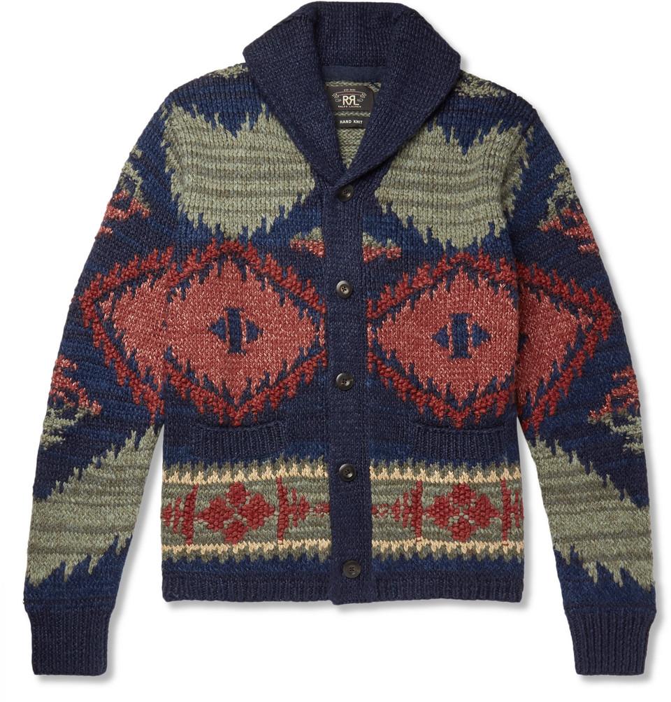 Beacon Shawl-collar Knitted Cardigan - Blue