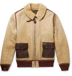RRL - Willard Leather-Trimmed Shearling Jacket