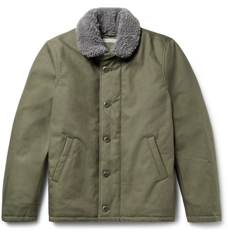 04e01197e Hunter Faux Shearling-Lined Dwr-Coated Organic Cotton-Canvas Coat in Army  Green