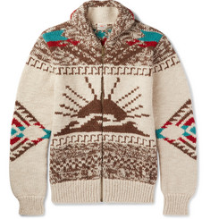 Faherty Sun & Wave Shawl-Collar Merino Wool and Alpaca-Blend Zip-Up Cardigan