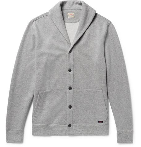 Faherty Shawl-collar Mélange Fleece-back Cotton-blend Cardigan - Gray FhvR4lcA2
