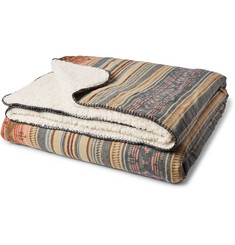 Faherty Aspen Brushed-Cotton Jacquard and Sherpa Blanket