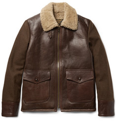 Schott Type N-5A Shearling-Trimmed Leather and Wool-Blend Jacket