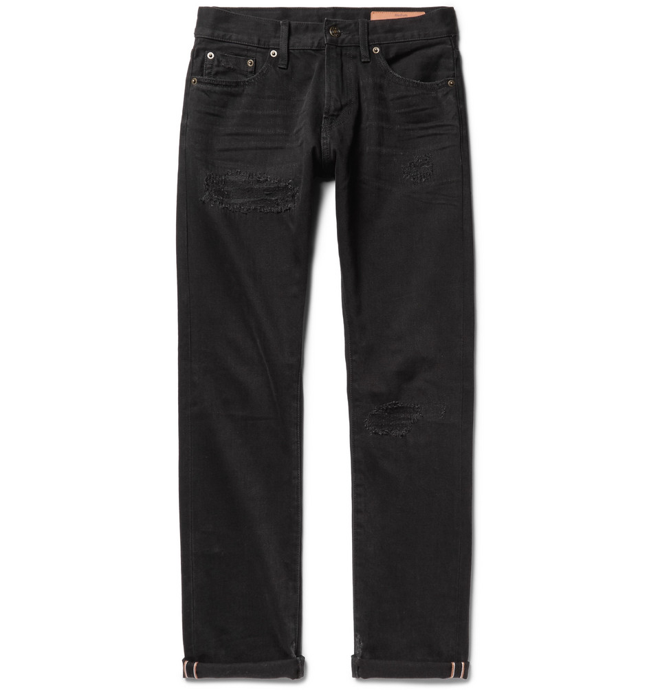 Mick Slim-fit Distressed Selvedge Denim Jeans - Black