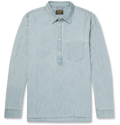 Jean Shop Ethan Half-Placket Stretch-Denim Shirt