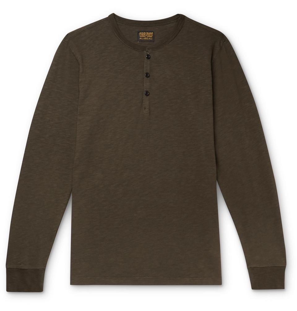 Henry Slub Cotton-jersey Henley T-shirt - Army green