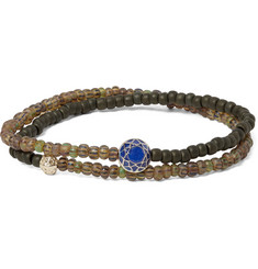 Luis Morais Glass Bead, Sapphire and Gold Wrap Bracelet
