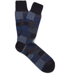 Anonymous Ism Patchwork Jacquard-Knit Socks