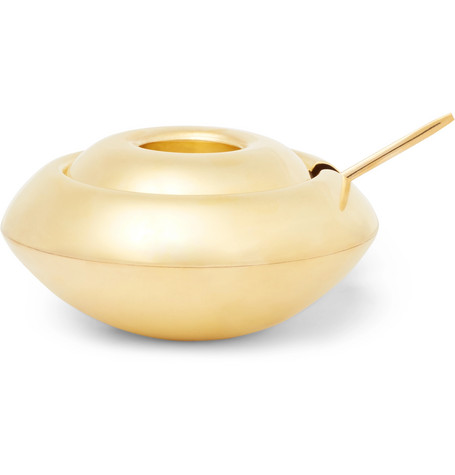Tom Dixon Form Brass Sugar Bowl And Spoon Set In Gold