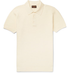 Tod's Basketweave Knitted Stretch-Cotton Polo Shirt