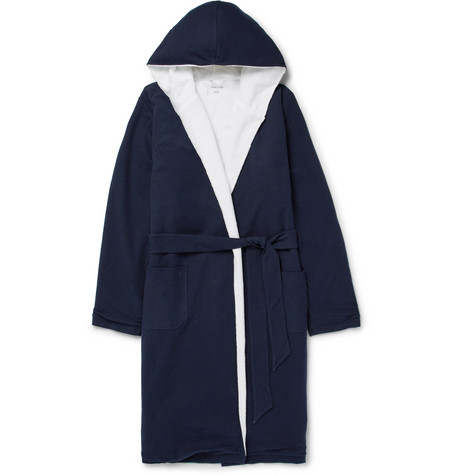 Hamilton And Hare Cotton-Terry Hooded Robe In Navy
